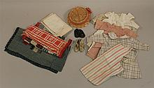 LOT OF ANTIQUE DOLL CLOTHING, SHOES, BEDDING. Clothing - (5) cotton dresses:  10
