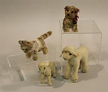 LOT OF (4) VINTAGE STEIFF ANIMALS - (2) LAMBS, CAT, DOG.  Lambs - 4