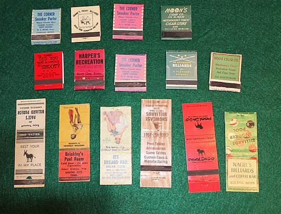 Lot of 15 pc. Misc, Pool Advertising Matchbooks, Risqué