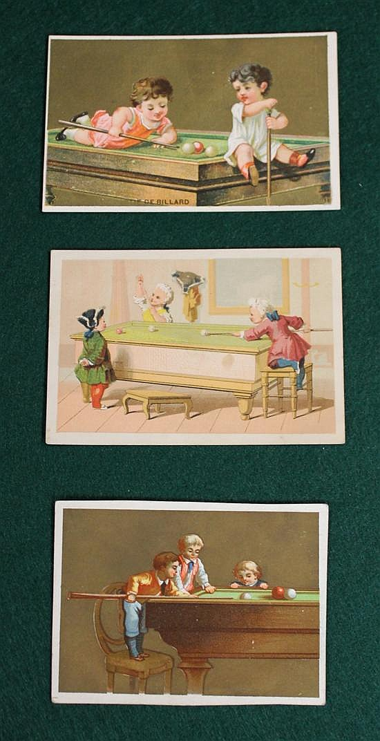 Lot of 3 pc. Children playing Billiards trade cards.