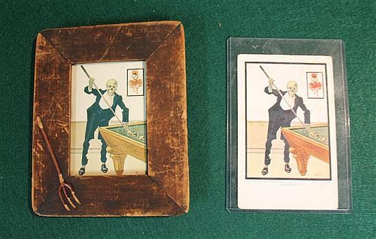 Lot of 2 pc. Framed devil postcard (cut down) with wood frame with pitchfork and original devil postcard.