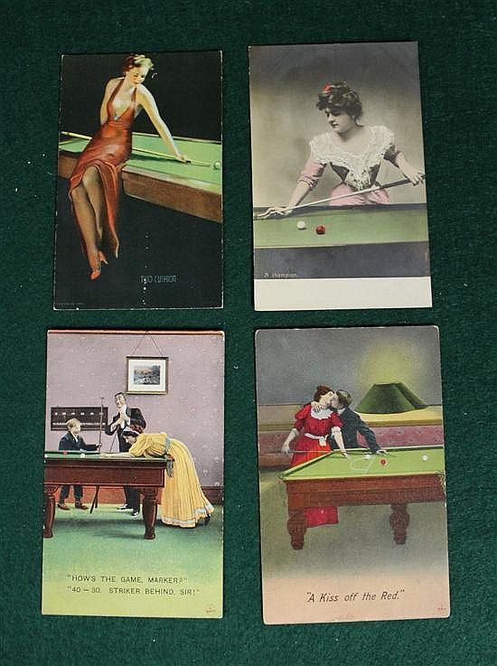 4 pc. lot of woman playing billiards.