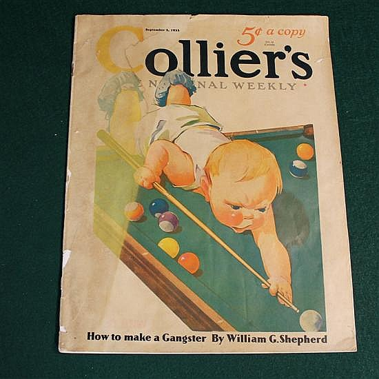 Colliers Magazine from 1933, Sept 2 . Baby shooting pool on the cover.