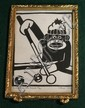 Framed outsider art (?) of a sock monkey shooting pool. Signed and Dated 2002.