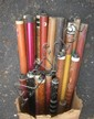 Box lot of over 30 cues. Various ages and conditions. Some two piece cues.
