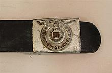 German WW II Waffen SS enlisted man's combat belt and buckle. Black leather belt measuring 37