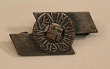 German WW II Hitler Youth pins. Stamped metal sigrune awarded to Hitler youth. Reverse displays stamped number with