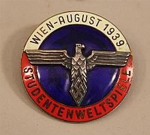 German 1939 dated student world conference pin.Pin issued to student participents conference held in Vienna just before the beginnin...