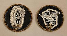 Lot of two pieces of German WW II Luftwaffe cloth insignia. Included are two circuler specialty patches both surrounded by heavy gil...