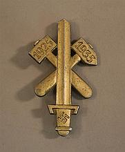 German WW II gau rally pin. Pin is of stamped aluminium displaying a gilt finish, manufactured by the firm