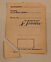 German WW II unissued SS membership card. Obverse is headed