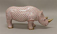 Herend Large Porcelain Rhinosaursas