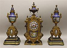 Gilt Bronzed and Enamel Garniture Set