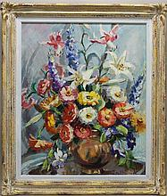 Van Sciver, Pearl A. 1895-1966, Pennsylvania, Floral Still Life. Oil on Canvas.