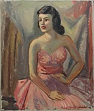Herring, Frank Stanley, 1894-1966, Georgia/ New York, Portrait of a Young Woman in a Pink Dress. Oil on Canvas.