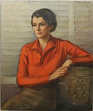Herring, Frank Stanley, 1894-1966, Georgia/ New York, Portrait of a Young Woman with Red Blouse. Oil on Canvas.