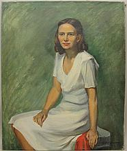 Herring, Frank Stanley, 1894-1966, Georgia/ New York, Portrait of a Young Woman in White Dress. Oil on Canvas.