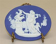 Wedgwood Jasperware Oval Cobalt Blue Greek Mythology Medallion, Circa Early to Mid 19th C.