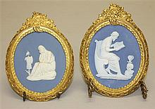 Pair of Wedgwood & Bentley Jasperware Plaques with Ormolu Frames, Circa Late 18th Century