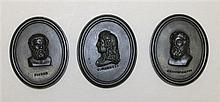 Three Wedgwood Oval Basalt Portrait Medallions, Circa 1780