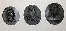 Two Marked Wedgwood and One Unmarked Basalt Portrait Medallions, Circa Late 18th Century
