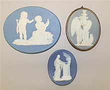 Three Wedgwood & Bentley Oval Light Blue Jasperware Plaques, Circa late 18th century