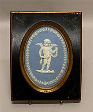 Wedgwood Jasperware Framed Plaque of Putto, circa 19th century