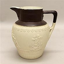 Turner Drabware Pitcher with Brown Rim and Handle