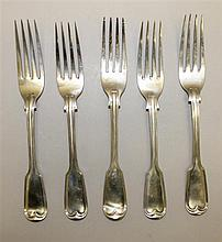 Five British Silver Dinner Forks