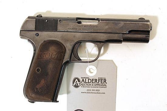 "Colt Model 1903 Hammerless Pocket Pistol semi-automatic pistol. Cal. 32 Rimless. 3-1/2"" bbl. SN 349519. Blued finish on metal, bluin..."