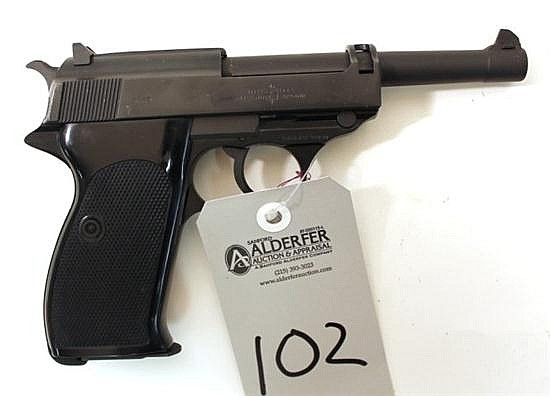 "Walther P38 semi-automatic pistol. Cal. 22 LR. 5"" bbl. SN 330214. Matte finish on metal, black plastic grips, excellent bore, 1 maga..."