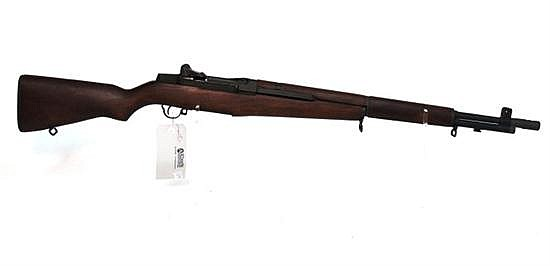 "US Springfield Armory M1 Garand semi-automatic rifle. Cal. 30-06. 24"" bbl. SN 7005370. Parkerized finish on metal, after market muzz..."