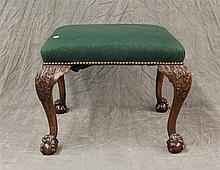 Chippendale Style Ottoman with Mahogany Ball and Claw Feet and with Nail Heads, 18