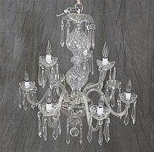 Signed Waterford Crystal 9 Lite Chandelier, 32