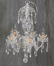 Signed Waterford Crystal 5 Lite Chandelier with Missing 5 Prisms 24