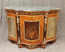 French Ormolu with Mounted Marble Top Sideboard, Mixed Wood Inlay  42