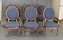 6 Louis XV Style Dining Room Chairs, Blue Upholstry, Some Staining (2) Arm Chairs, (4) Armless Chairs, 41