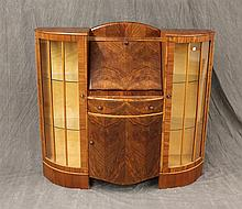 Bow Front Art Deco Secretary Bookcase with Glass Doors, 45