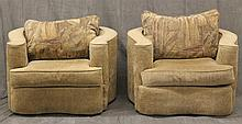 Pair of Musical Note Shaped Chairs with Contrast Loose Back Pillows, 27 1/2