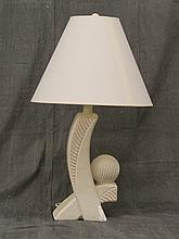 Contemporary Plaster Lamp with a Chip, Linen Shade, 31