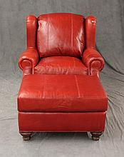 Red Leather Chair and Ottoman, Chair: 29 1/2