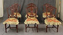 Set of 6 Mahogany Carved Shield / Laural Back Chairs with Custom Made Seat Covers, 37