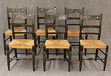 Set of 6 Chairs, Wood with Wicker Seats and Hand Painted Designs, 32 1/2