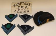 Reproduction hat with South Carolina insignia and group of 19th century style insignia.