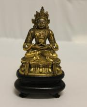 Miniature Bronze Seated Tibetan Buddha