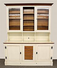 French Grange Breakfront, Painted White with Maple Shelving, Step-Back, Molded Cornice, Two Glazed and One Open Shelf over Two Doors...