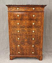Chest of Drawers, Veneered Mahogany, Marble Top, Seven Drawers on Bracket Feet, 56