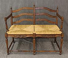 Country French Settee, Walnut, Scrolled Splats, Straight Arms, Rush Seats, Carved Apron on Turned Legs and Box Stretcher, 34