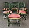 Set of 6 Country French Green Painted Dining Chairs, Scrolled Crests, Rush Seats, carved Scrolled Apron on Fluted legs on Turned Fee...