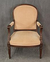 Louis XVI Style Arm Chair, Carved Mahogany, Peach Upholstery, Ancanthus Open Arms on Tapered Fluted Legs, 36 1/2